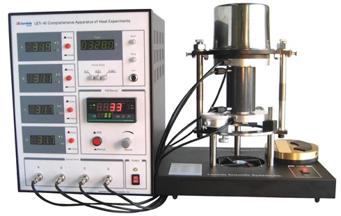 Physics lab equipment for thermal expansion, thermal conductivity, heat capacity, energy conversion, and characteristics of temperature sensors.