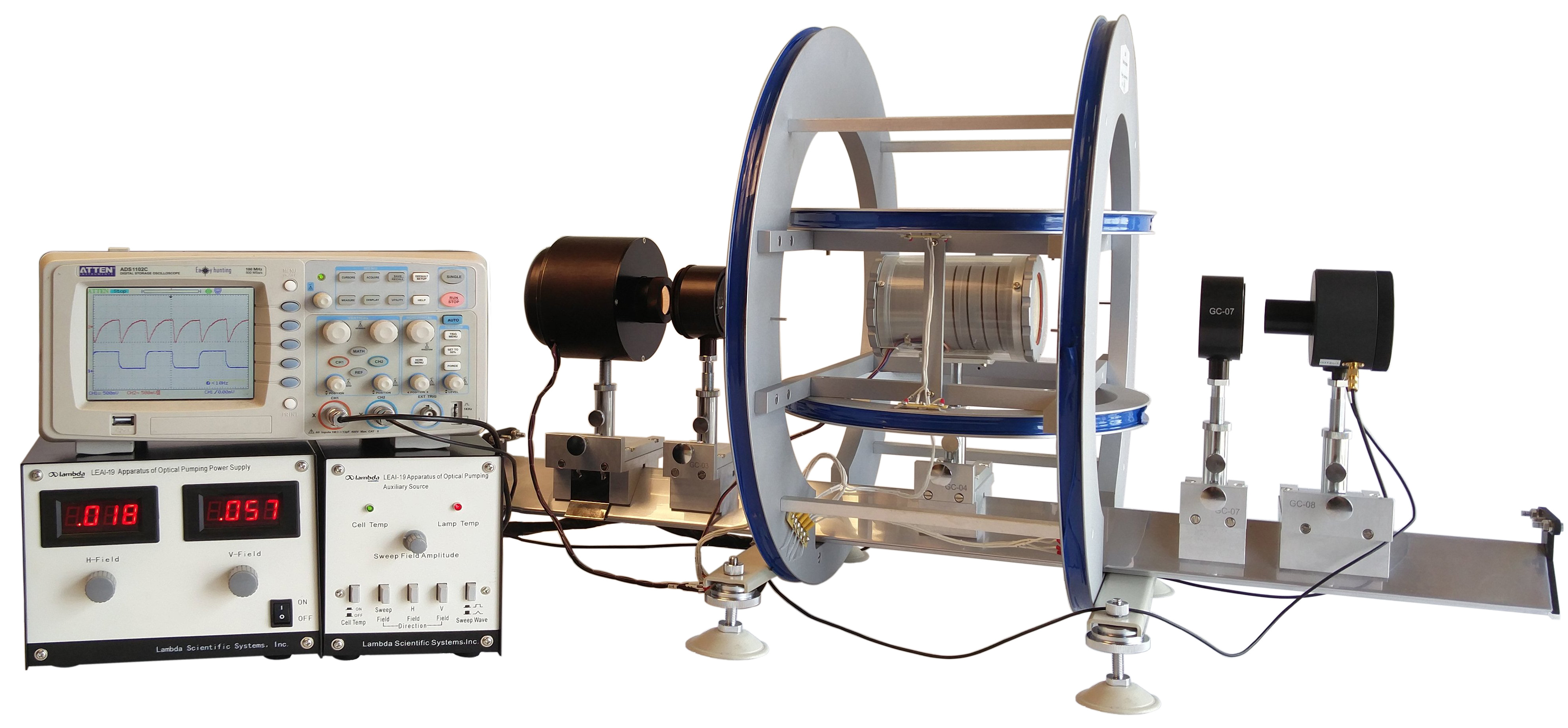 Physics lab equipment for NMR, Zeeman, Planck's constant, Franck-Hertz, Millikan oil drop, e/m, electron diffraction, ultrasound & microwave.